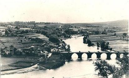 Antigua postal do río Miño, que Sánchez soñou navegable ata o interior do país.