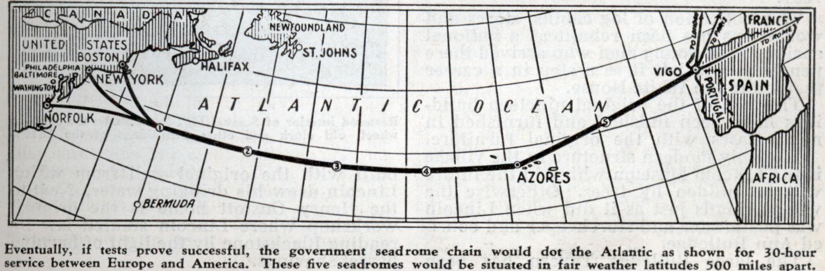 A ruta do proxecto de Armstrong entre Nova York e Vigo con seadromes.