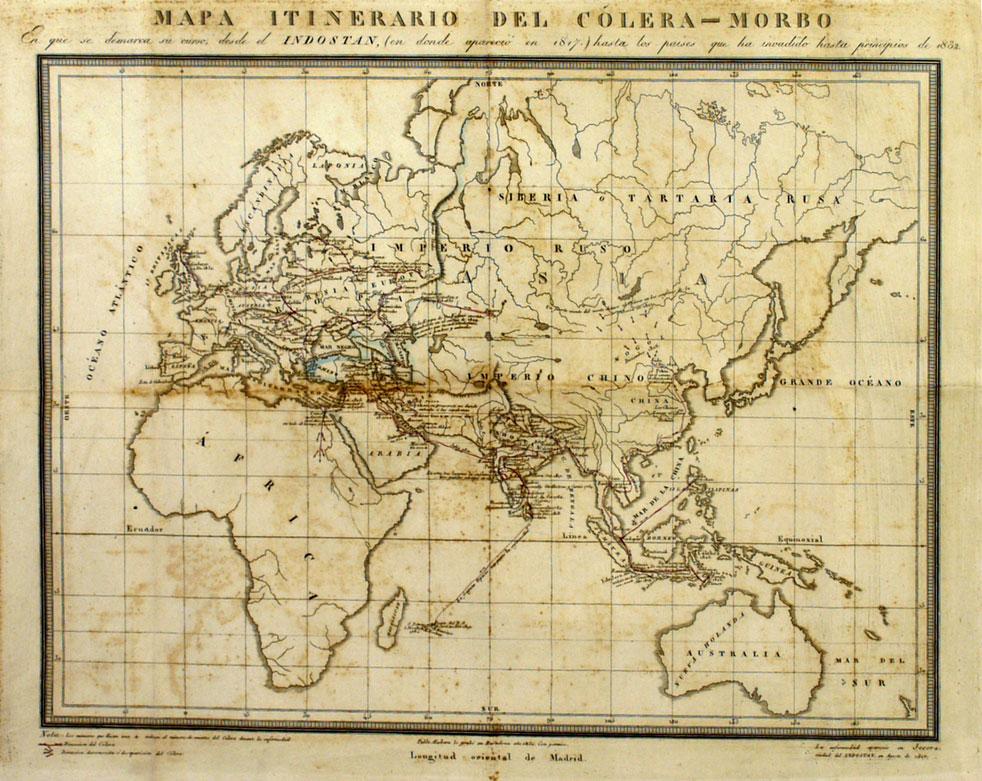 Antigo mapa coa expansión da epidemia de cólera desde India.