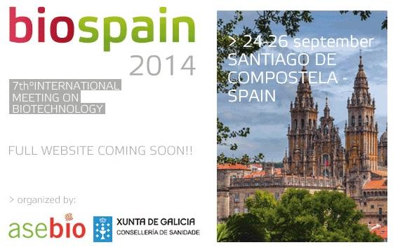 Biospain 2014 celébrase en Santiago ata o 26 de setembro.