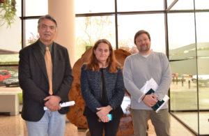 Os profesores Enrique Valero, Ángeles Cancela e Juan Picos.