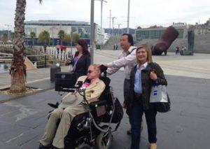 Stephen Hawking, na súa visita a Vigo, en 2014.