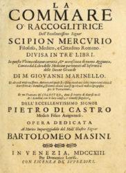Portada do libro de Scipion Mercurio co Tratatto del Colostro de Pedro de Castro.