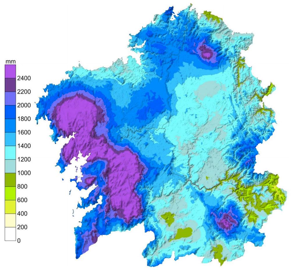 Mapa de precipitación acumulada en Galicia no ano 2014.