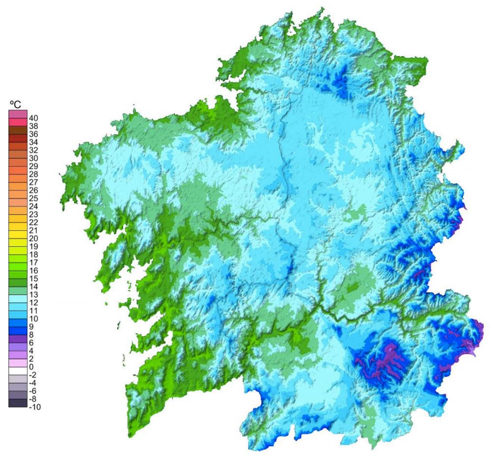 Mapa temperatura media en Galicia 2014