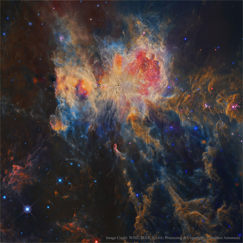 Orión en infravermellos desde o WISE