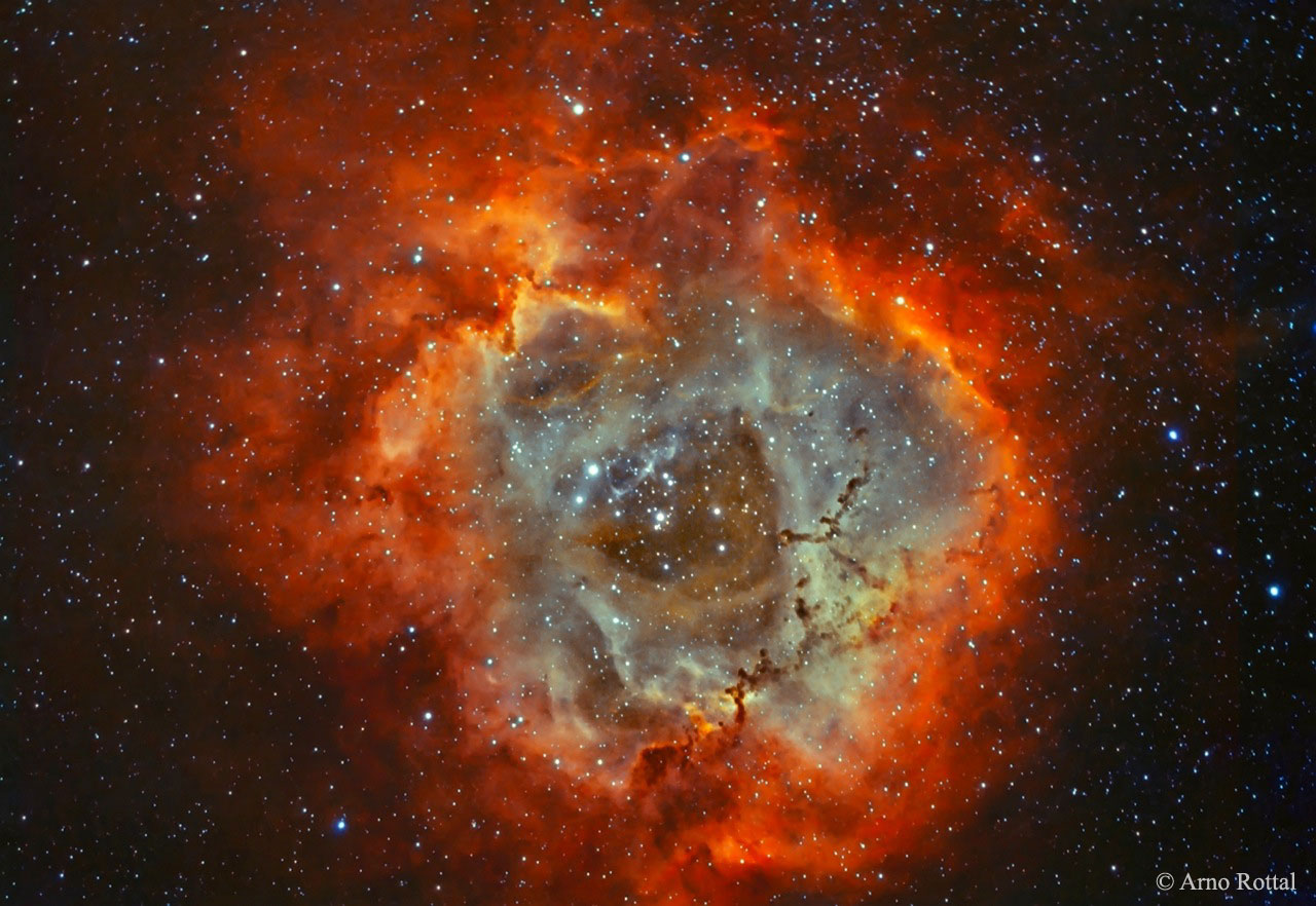 A nebulosa Roseta en hidróxeno e osíxeno