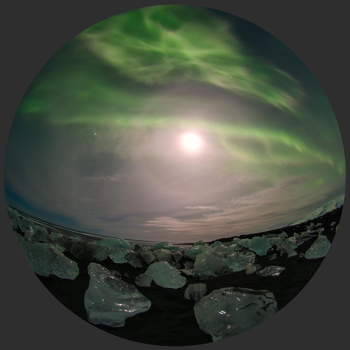Aurora sobre xeo