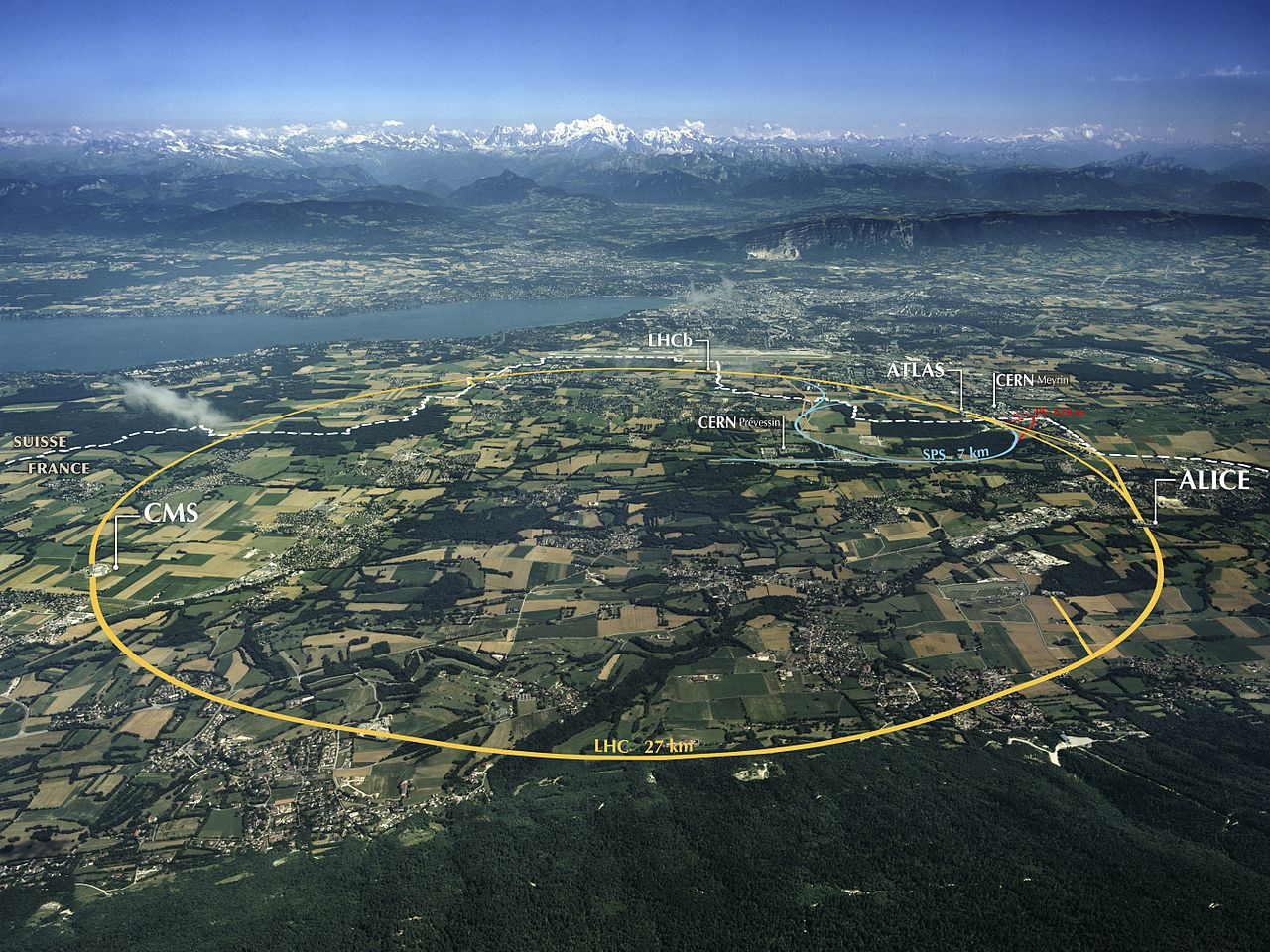 Vista aérea do CERN.