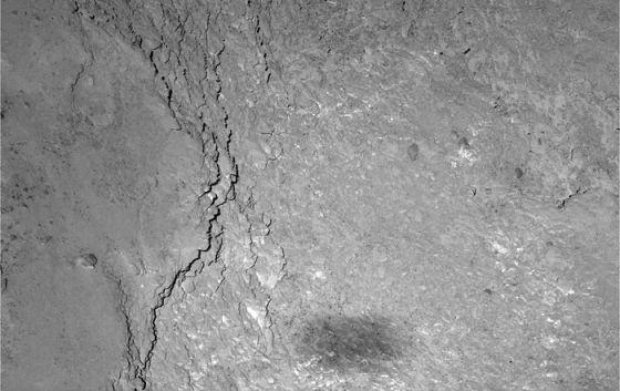 A nave espacial Rosetta fotografou a súa propia sombra proxectada sobre a superficie do cometa 67P, a cuxa órbita chegou o pasado verán. A imaxe tomouna o 14 de febreiro, durante o sobrevoo de máxima aproximación ao obxecto celeste realizado ata o momento, dende unha distancia de seis quilómetros do chan. O aliñamento do cometa, a nave e o Sol provocou a imaxe. A sombra  no chan do cometa está borrosa e é maior que a nave, que mide uns dous metros por 32 metros (incluídos os paneis solares estendidos) , debido a que o Sol non é unha fonte puntual de luz, explicou a Axencia Europea do Espazo (ESA). / ESA/ROSETTA/MPS FOR OSIRIS TEAM MPS/UPD/LAM/IAA/SSO/INTA/UPM/DASP/IDA