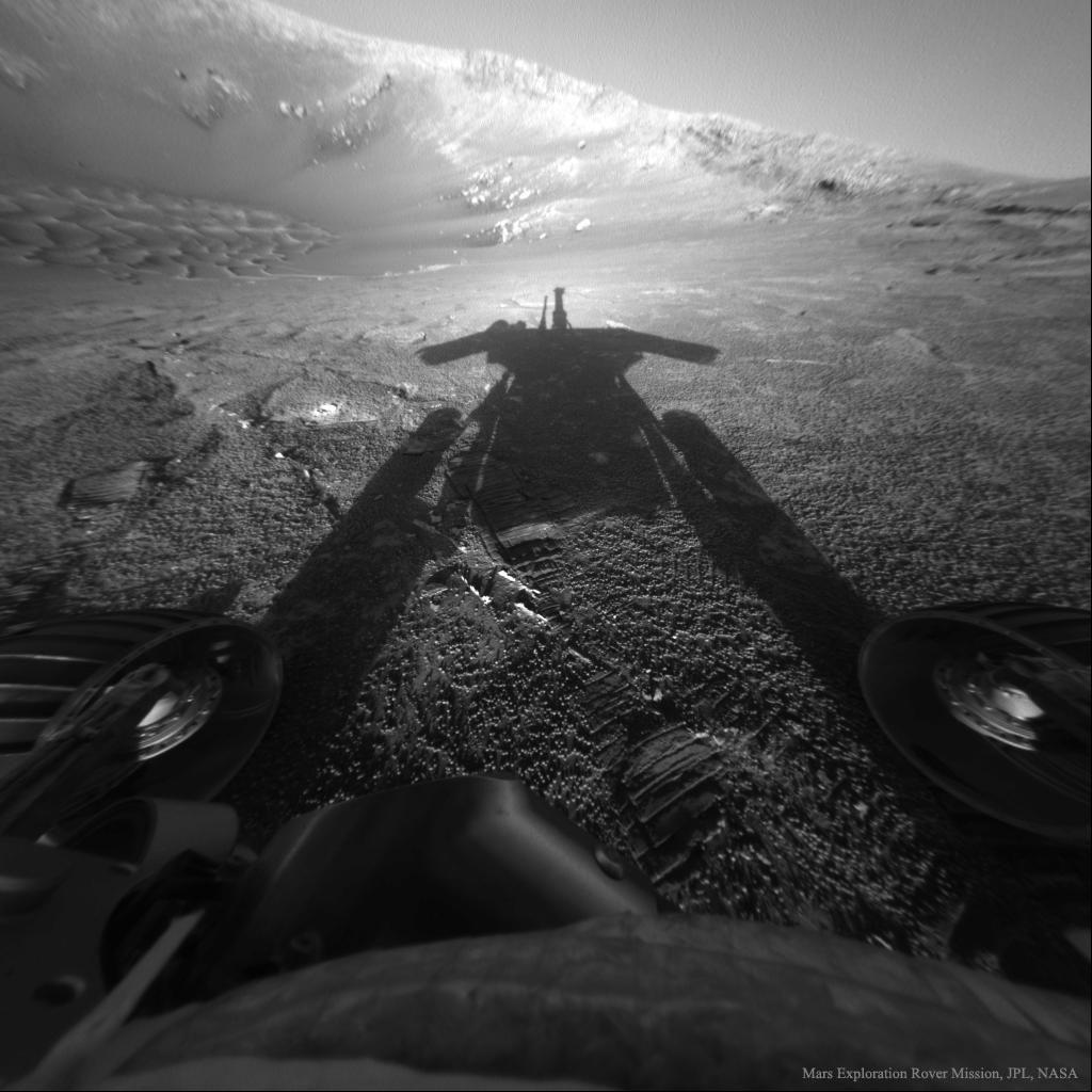 Sombra do rover Opportunity en Marte