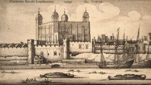 A Torre de Londres na época de Rande, cando Newton era o seu director.