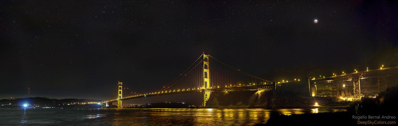 Eclipse de Lúa no Golden Gate de San Francisco