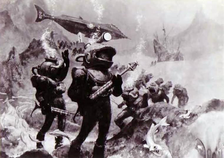 Os tripulantes do 'Nautilus' saen de cacería submarina nun capítulo do libro.