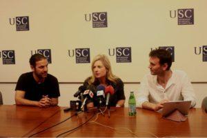 Randall, cos físicos da USC Jorge Mira e José Edelstein.