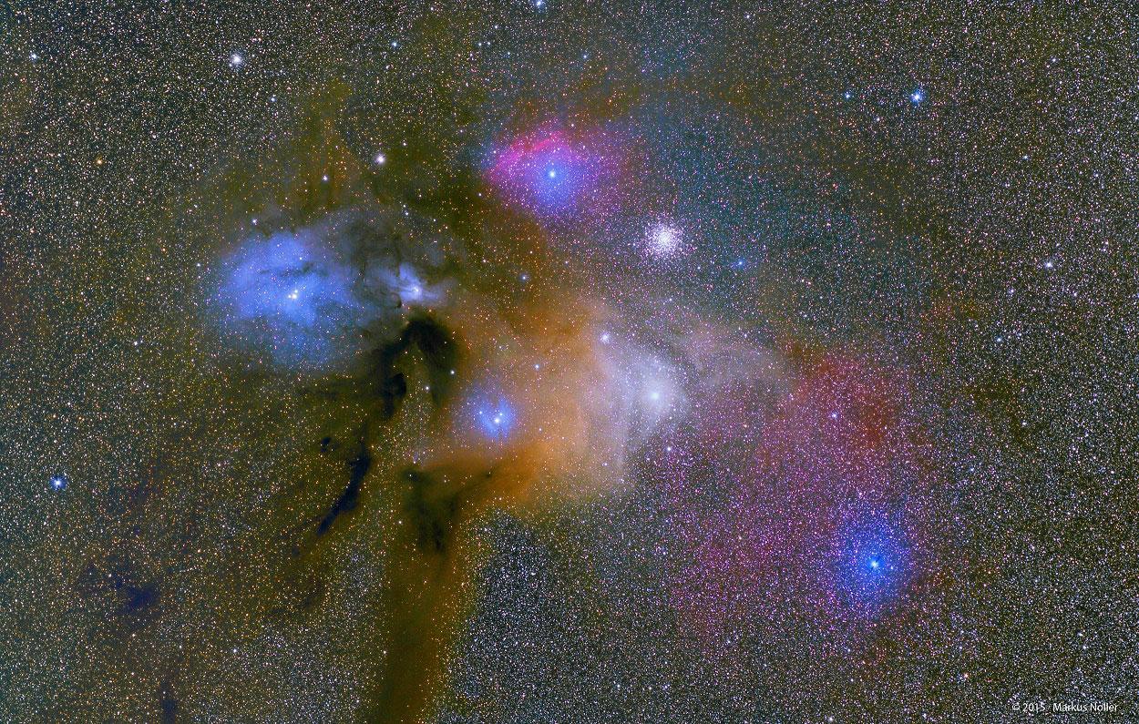 Nubes cheas de cor preto de Rho Ophiuchi