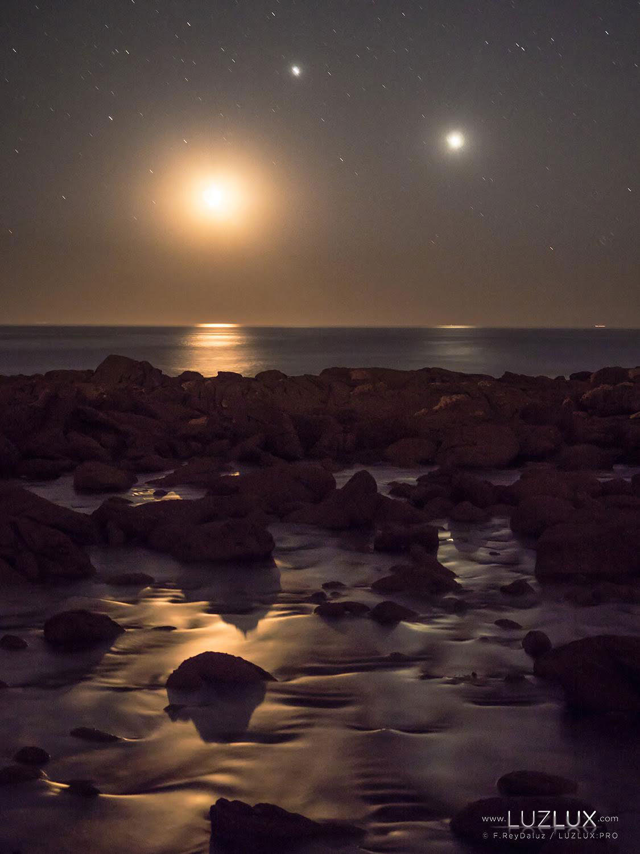 Triple conxunción da Lúa, Venu e Xúpiter no Parque Nacional Illas Atlánticas