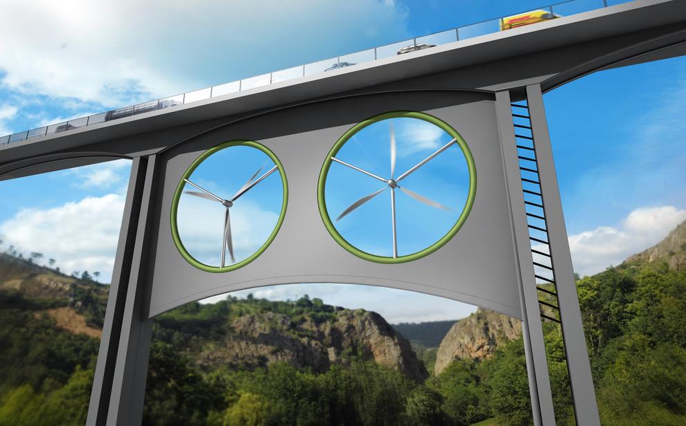 Deseño do proxecto eólico para o viaduto estudiado en Canarias.