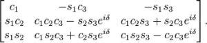 Unha das formulacións matemáticas da matriz 'CKM', que lle deu o Nobel a Kobayashi e Maskawa.