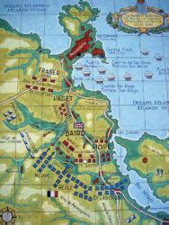 Mapa da batalla de Elviña entre ingleses e franceses en 1809.