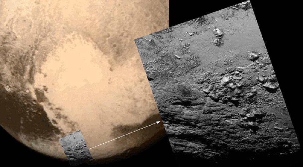 Plutón ten montañas xeadas con picos de 3.500 metros de altura e parece estar xeoloxicamente activo. Estes son algúns dos datos sorprendentes revelados pola sonda New Horizons durante o seu sobrevoo do planeta anano. A nave tamén tomou novas fotografías da lúa Caronte, cunha paisaxe de canóns e estreitos vales. Tan só un día despois do sobrevoo que fixo a nave New Horizons nas proximidades de Plutón, os responsable desta misión da NASA xa ofreceron as esperadas primeiras imaxes da superficie do planeta anano.