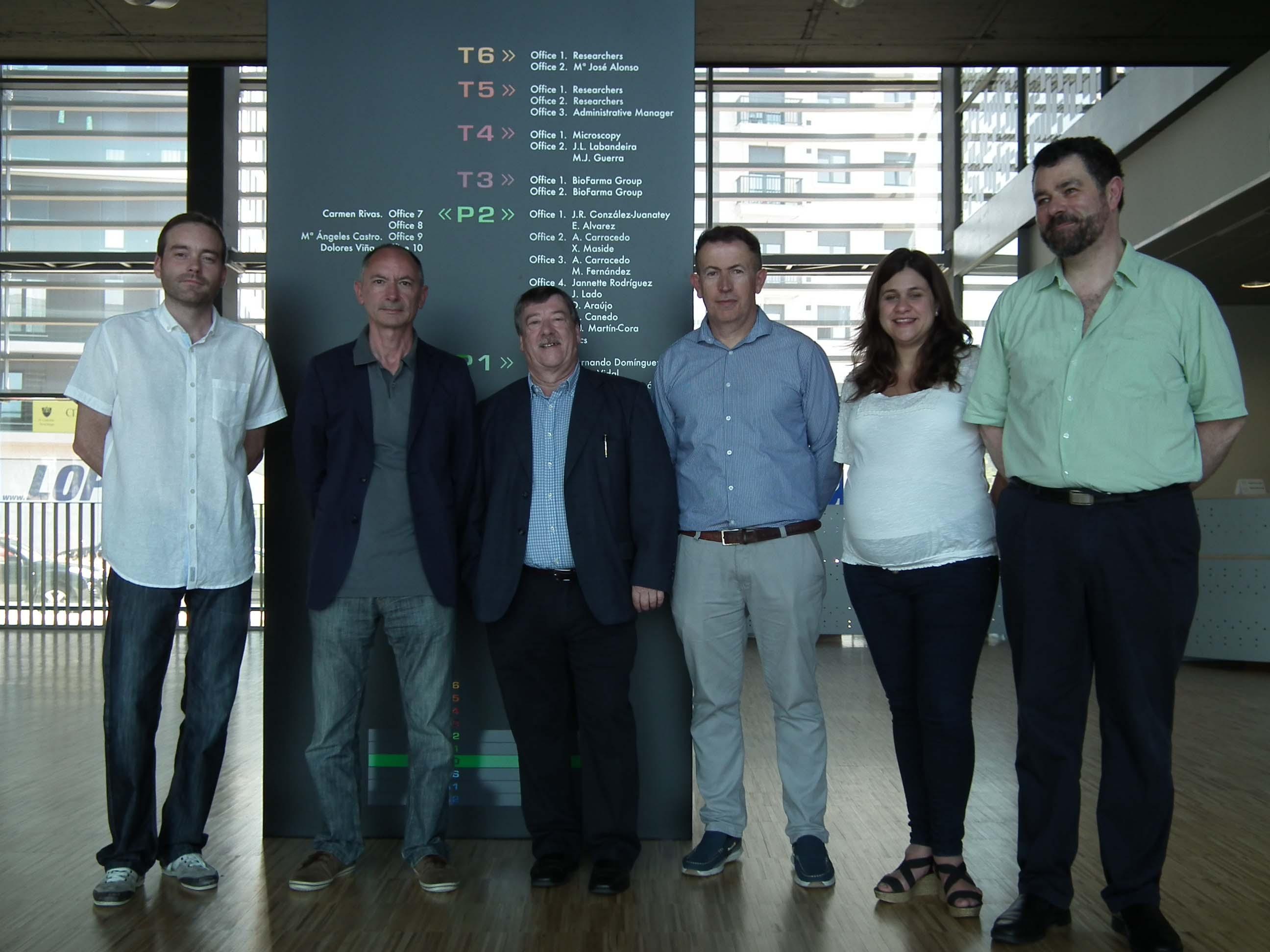 Samuel Seoane, Román Pérez, Antonio Mouriño, Esteban Castelao, Efigenia Arias e Miguel Maestro