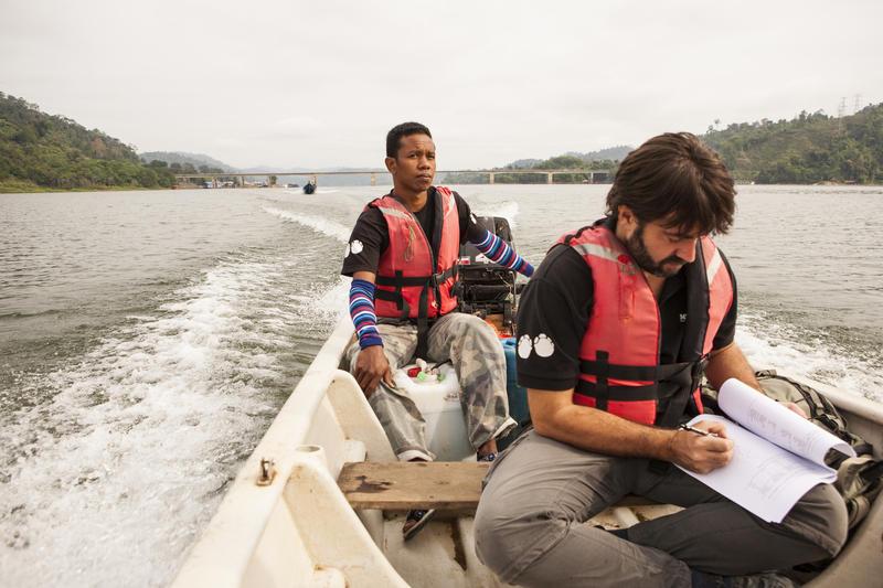 Ahimsa Campos, autor do estudo, revisando papers durante un traslado nunha investigación.