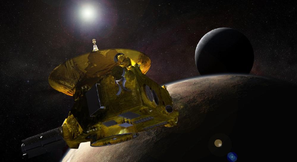 Este martes 14 de xullo, ás 13:49 h (hora peninsular española), a sonda espacial New Horizons da NASA realizou o seu máximo achegamento a Plutón, do que se mantén a uns 12.500 quilómetros de distancia. A nave pasou a unha velocidade de 49.600 quilómetros por hora tomando datos cos seus sete instrumentos científicos. A visita ao xélido planeta anano culmina a exploración inicial do noso sistema solar, xa que se trata do último mundo descoñecido. Ademais, a NASA lanzou unha aplicación que permitirá coñecer os detalles da exploración de Plutón por New Horizons. Está dispoñible para Mac e Windows en eyes.jpl.nasa.gov A aplicación permitirá recibir imaxes, foto a foto, do que vai vendo a sonda espacial tanto en Plutón coma na súa maior lúa: Caronte. Foto: Recreación NASA.