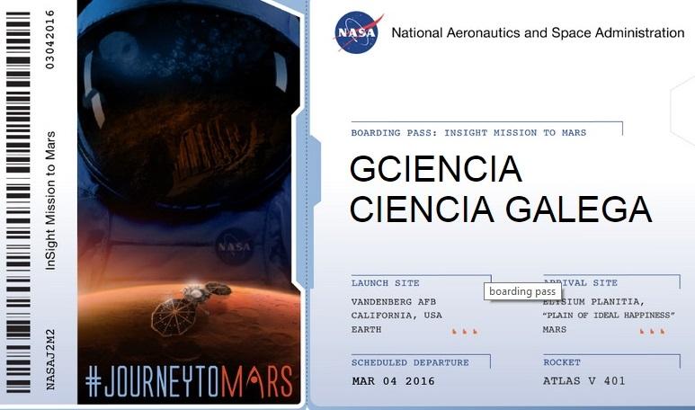 Boarding Pass de GCiencia. A nosa cabeceira tamén irá na misión Insight a Marte.