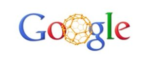 Doodle de Google nos 25 ano do descubrimento do fulereno.