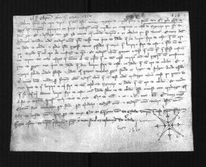 Un dos documentos descubertos na catedral de Ourense.