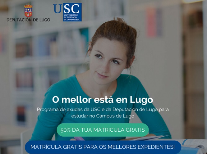 Cartaz da campaña 'Para estudar Lugo', da USC e a Deputación Provincial de Lugo.