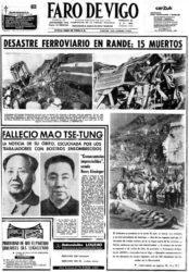 Primeira páxina de Faro de Vigo coa nova do accidente.