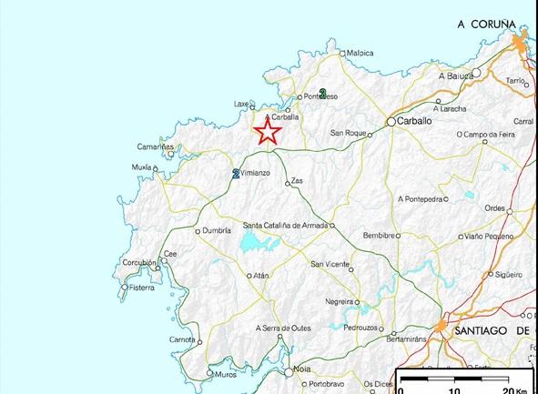 Localización do terremoto polo Instituto Xeográfico Nacional.
