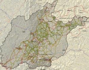 Un dos mapas dos camiños do oso deseñados na investigación.