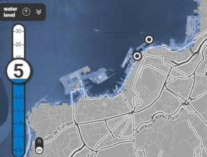 Vigo, co recheo de Bouzas e os portos asolagados.
