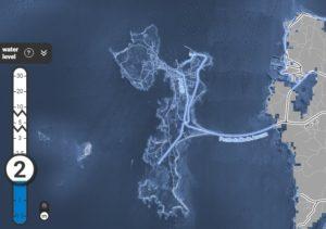 A illa de Arousa, desaparecida baixo das augas no gráfico de Climate Central.