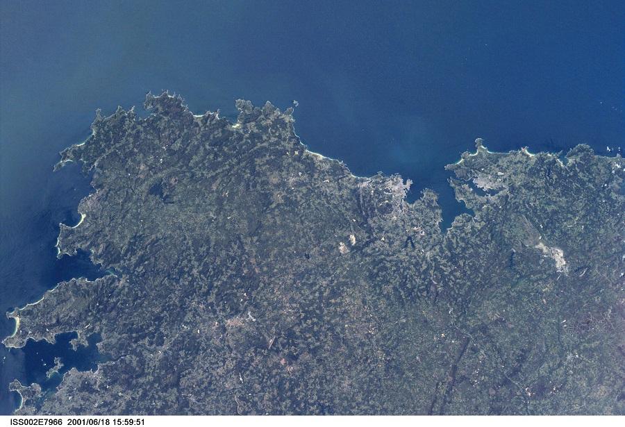 O Golfo Ártabro no ano 2005 dende a ISS.