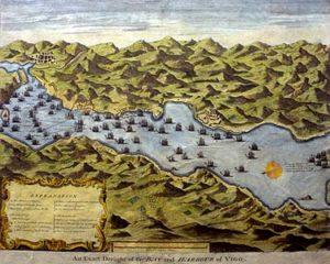 Representación en cores da batalla de Rande (1702).