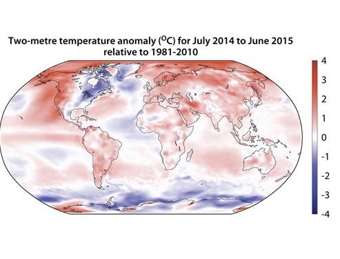 Gráfico de Copernicus sobre a evolución das temperaturas no 2015.
