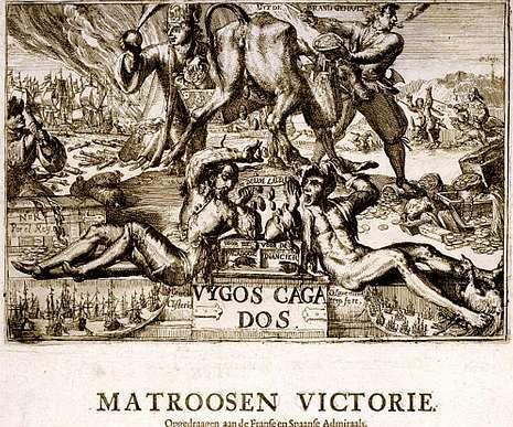 Gravado de 'Os Cagados de Vigo', que se atopa no Museo Británico.