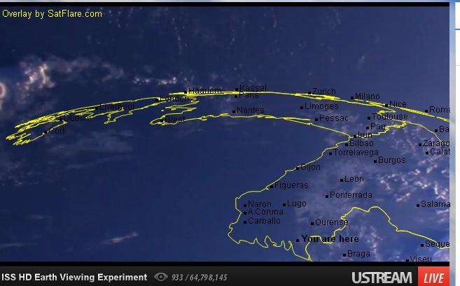 Imaxe capturada pola Estación Espacial Internacional ao seu paso por Galicia.