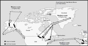 Gráfico da United States Air Force (USAF) que sinala a ruta europea da operación Chrome Dome, con Bares como punto de entrada en Galicia.