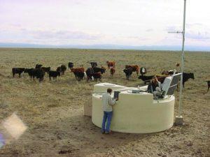 Un dos tanques de auga empregados como detectores no observatorio Auger.