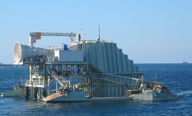 Un xerador OWC flotante. O do porto da Guarda irá integrado no peirao.