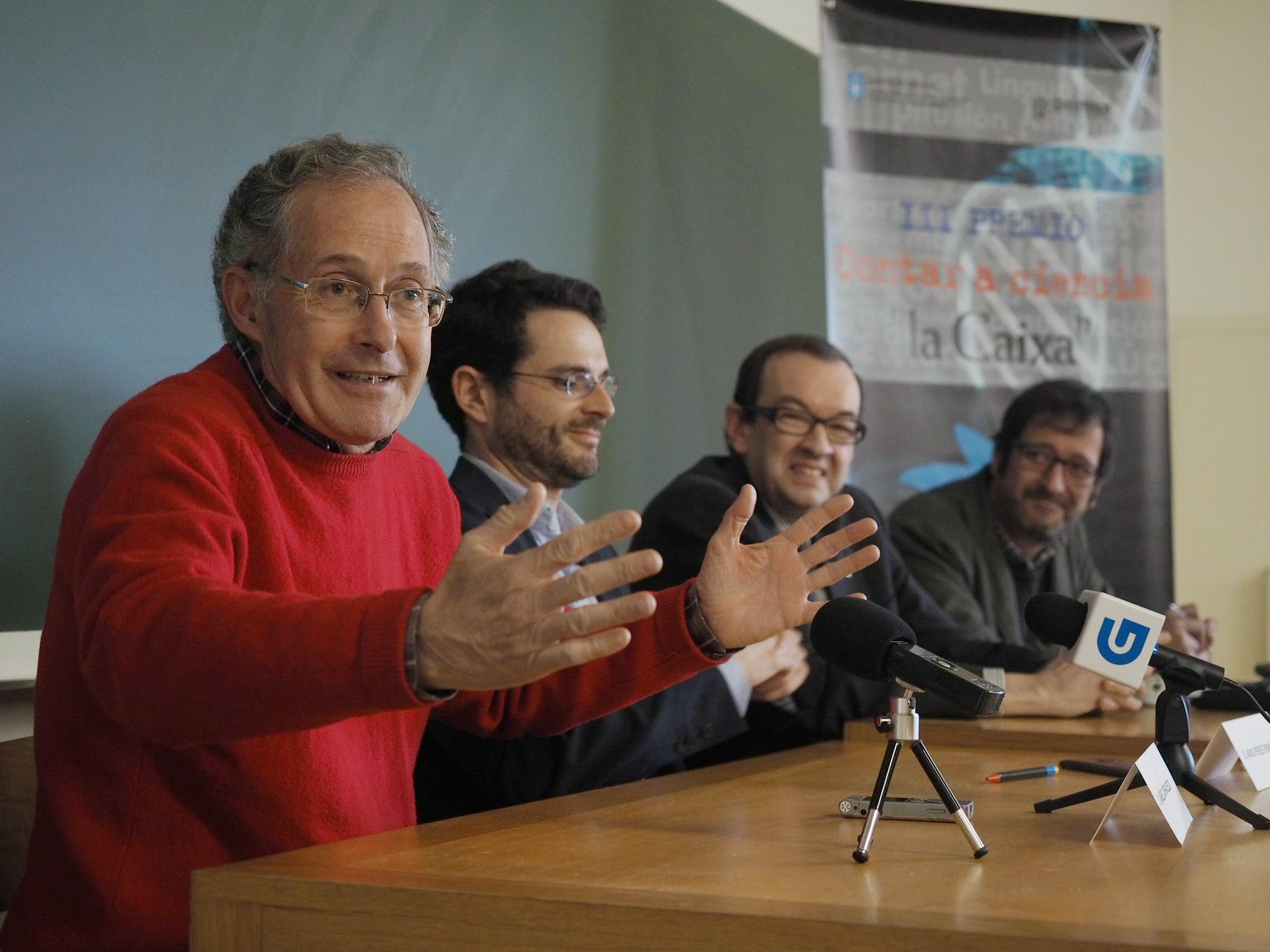Ángel Carracedo, na súa clase aberta na presentación do Premio Contar a Ciencia.
