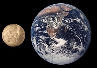 Comparación do tamaño da Terra e de Mercurio.