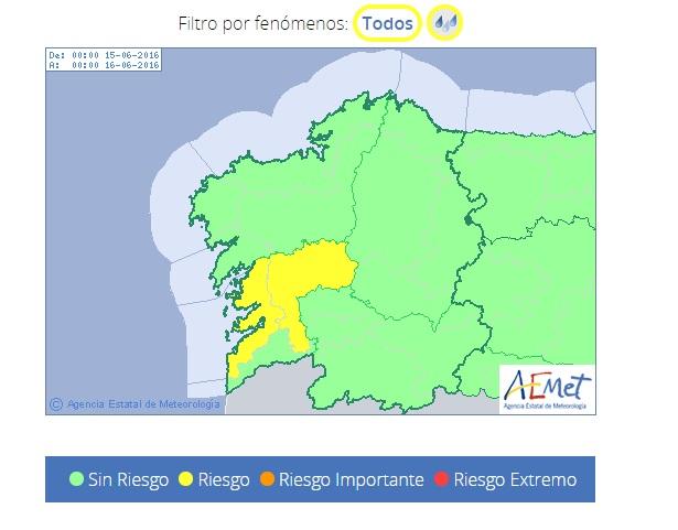 Gráfico da AEMET coa alerta amarela en Galicia.