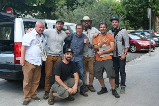 Parte do equipo de History Channel, tras gravar en Vigo no verán de 2015.