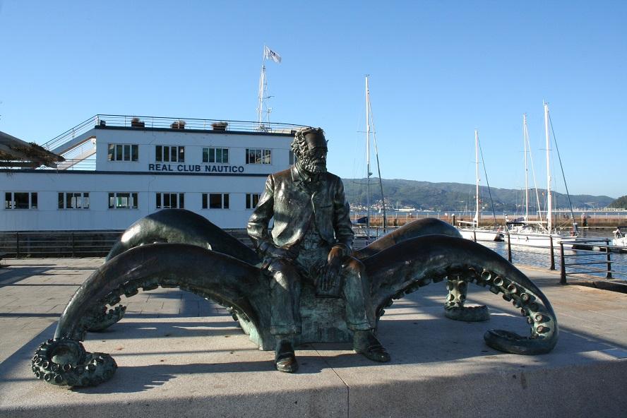 Estatua de Jules Verne en Vigo.